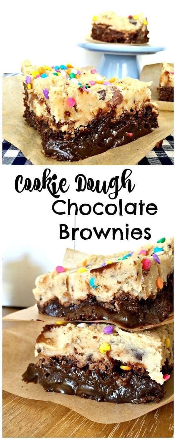 Gooey cookie dough chocolate brownies with sprinkles on top.