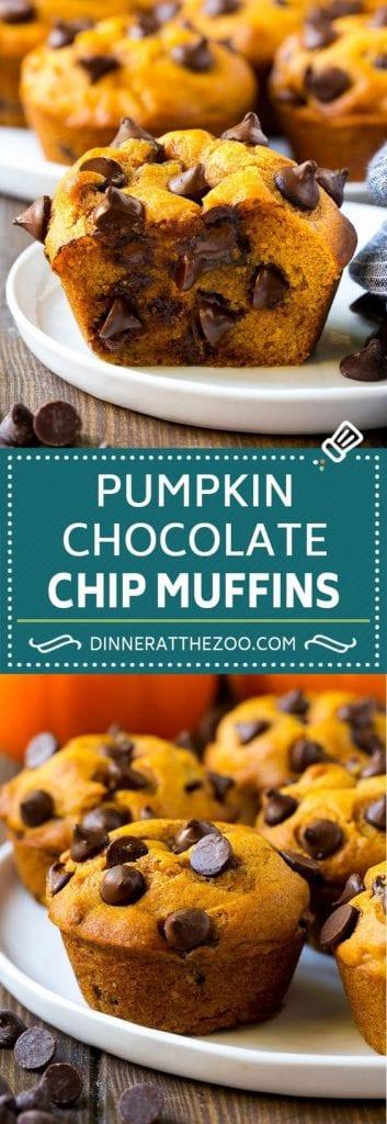 Pumpkin chocolate chip muffins dessert