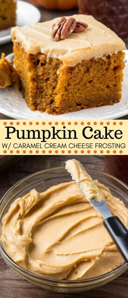 Pumpkin dessert cake with caramel cream cheese frosting