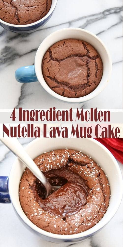 4 Ingredient Molten Nutella Lava Mug Cake