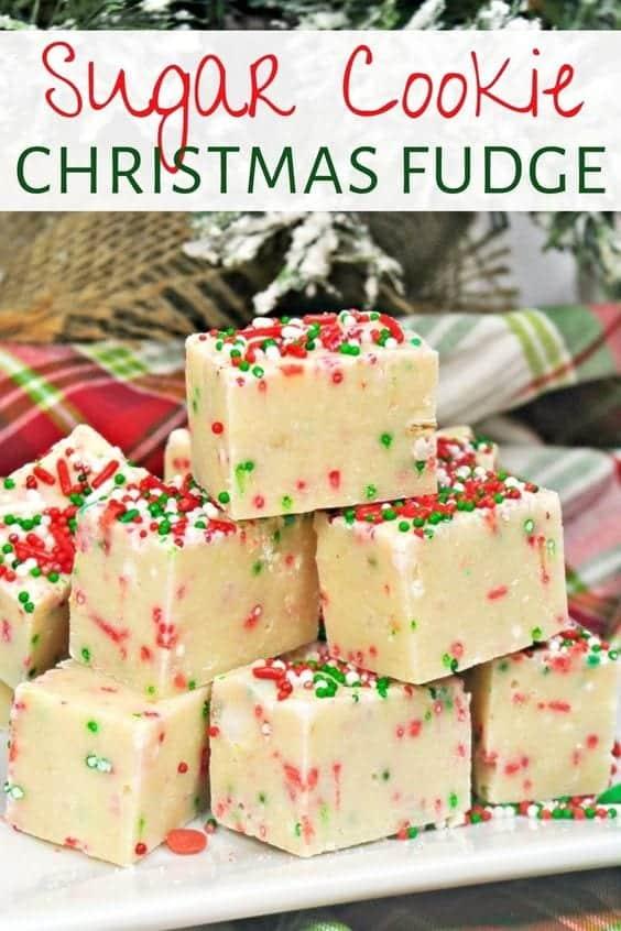 Sugar cookie Christmas fudge