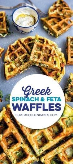 Greek Spinach, Feta and Potato Waffle Frittata with Tzatziki Sauce