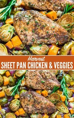 Sheet Pan Chicken with Sweet Potatoes Apples and Brussels Sprouts