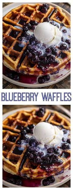 Greek Yogurt Blueberry Waffles with Fresh Blueberry