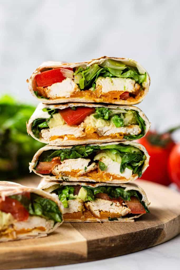 healthy chicken avocado wraps