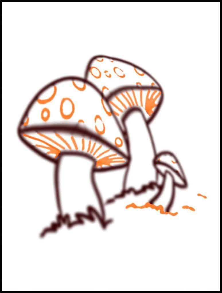 mushroom drawing nearly finished