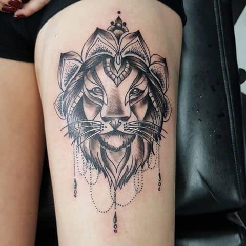 lion mandala leg tattoo