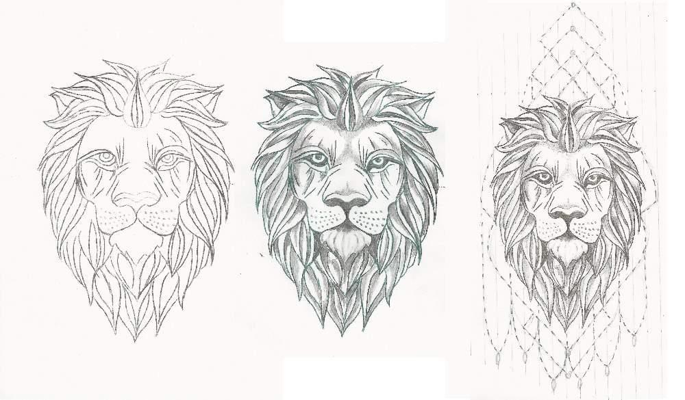 three stages of a lion mandala tattoo drawing
