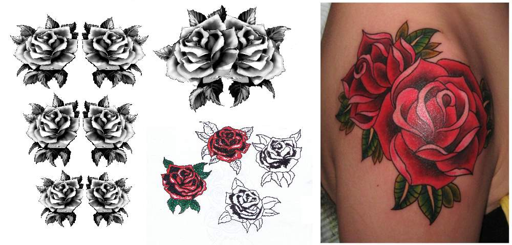 Some Classic Rose Tattoo Drawings and The Finished Tattoo